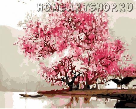 """Раскраска по номерам """"Розовые деревья у реки"""""""