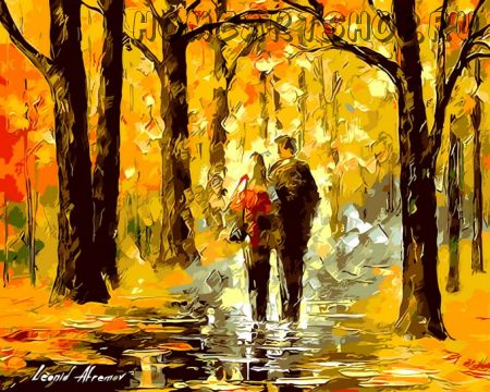 """Раскраска по номерам """"Пара в осеннем лесу"""""""