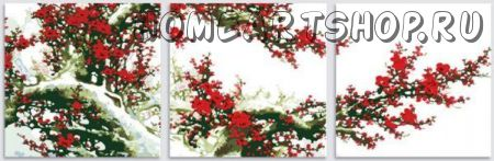 "Раскраска по номерам ""Снег и слива в цвету"""