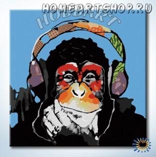 """Картина по номерам """"Monkey - Music. Чувство ритма"""""""